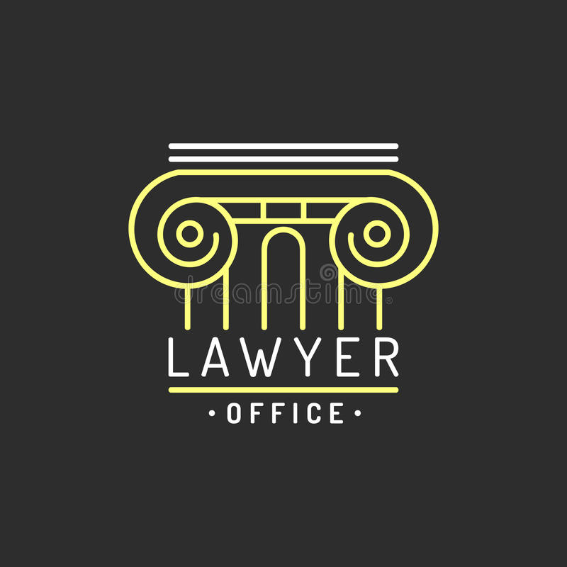 Law office logo. Vector vintage attorney, advocate label, juridical firm badge. Act, principle, legal icon design. royalty free illustration