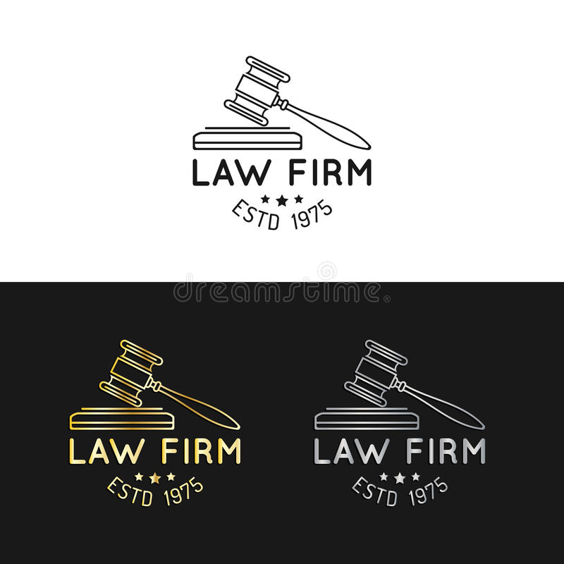 Law office logos set with gavel illustration. Vector vintage attorney, advocate labels,juridical firm badges collection. Law office logos set with gavel vector illustration