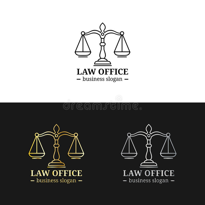 Law office logos set with scales of justice illustration. Vector vintage attorney,advocate labels,juridical firm badges. Law office logos set with scales of stock illustration