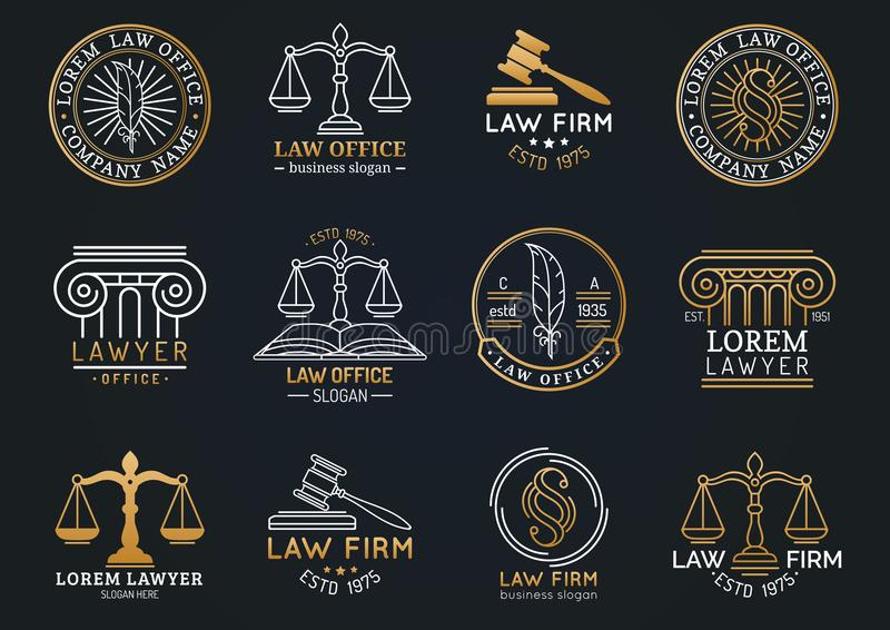 Law office symbols set with scales of justice, gavel etc illustrations. Vector attorney, advocate labels etc. Law office labels set with scales of justice vector illustration