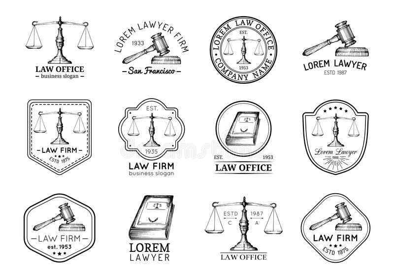 Law office icons set with scales of justice, gavel etc illustrations. Vector vintage attorney, advocate labels. Law office symbols set with scales of justice stock illustration