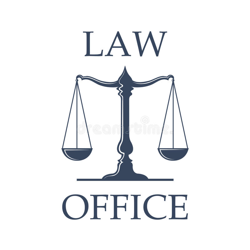 Law office vector icon with Scales of Justice stock illustration