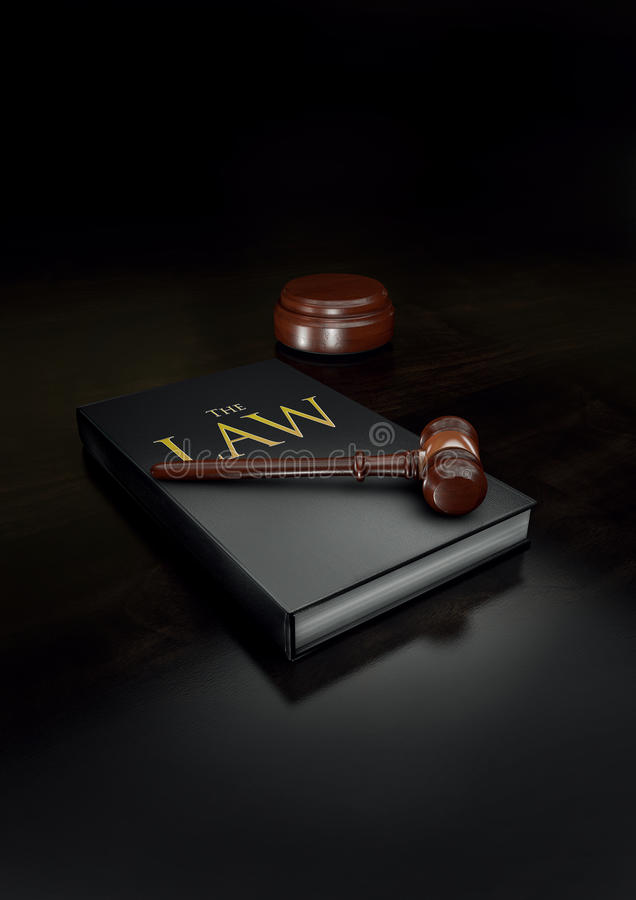 Law book and gavel royalty free stock photos