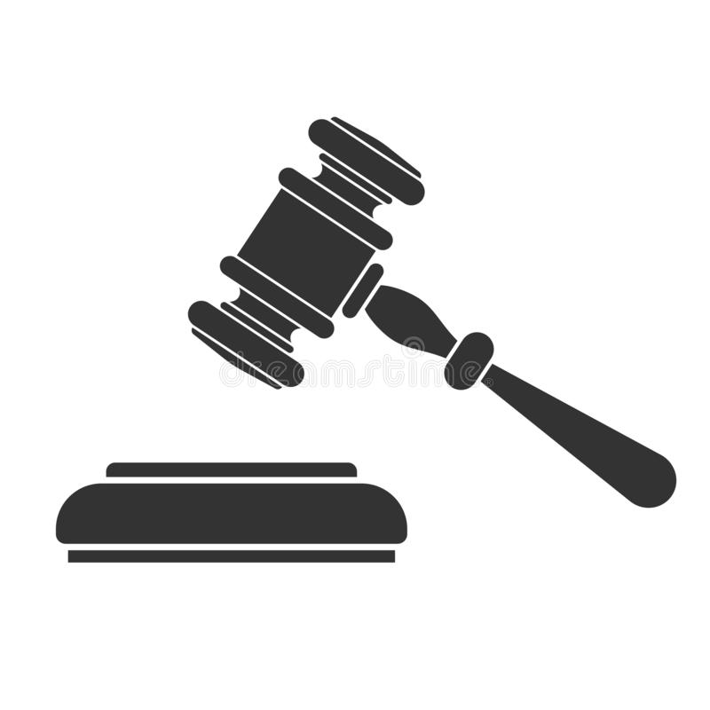 Law and Order or Auction Logo. Law and order or auction concept. protection logotype with gavel judge or auctioneer. concept auction, justice. flat icons for vector illustration