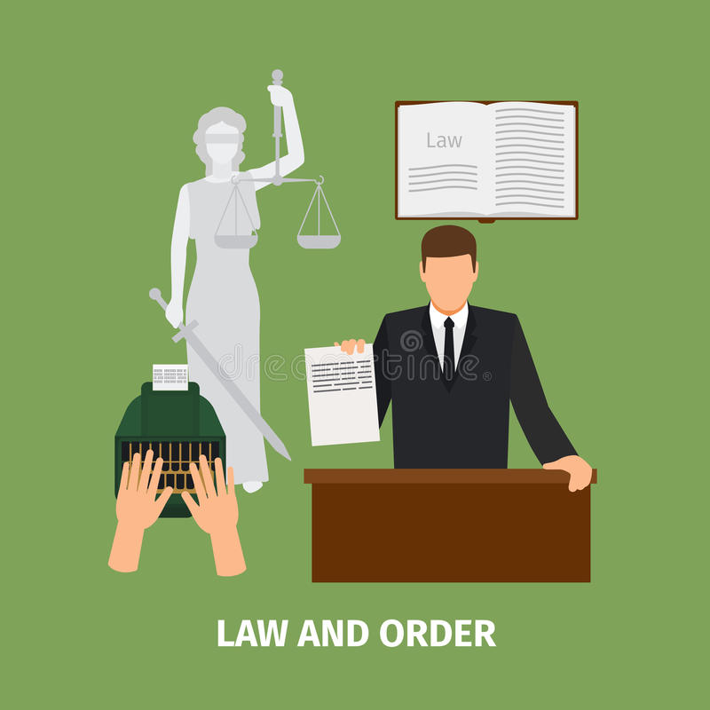 Law and order concept stock illustration
