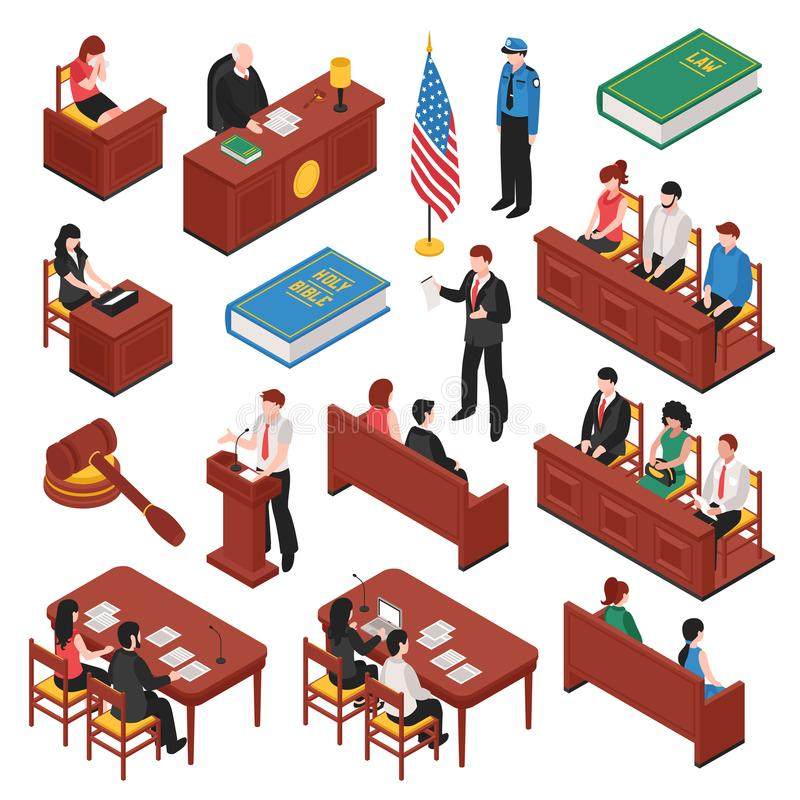 Law And Order Isometric Set. Of jury court policeman lawyer witness prosecutor victim mallet isolated vector illustration royalty free illustration