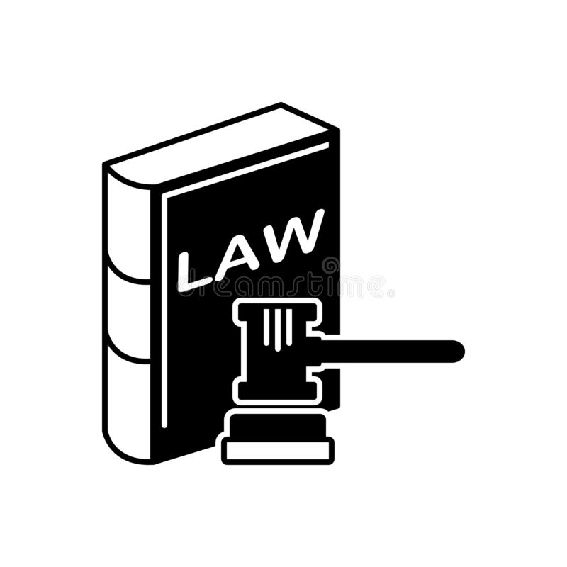 Black solid icon for Law and order, book and knocker vector illustration
