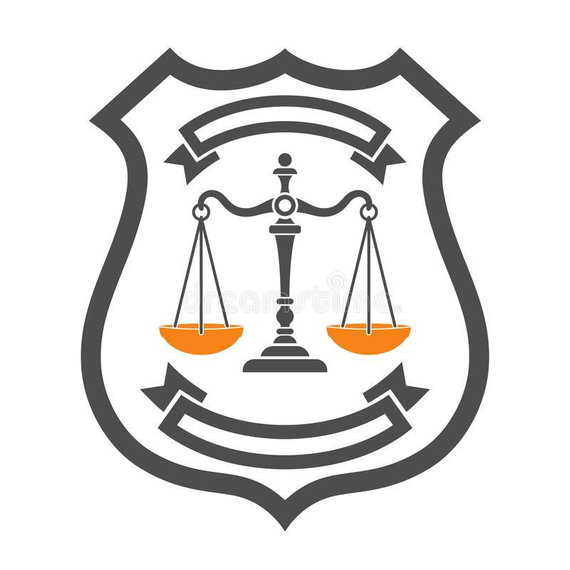 Law and Order Logo. Law and order concept. protection with shield and scales of justice. flat icons for poster, web site, advertising, logo. isolated vector stock illustration