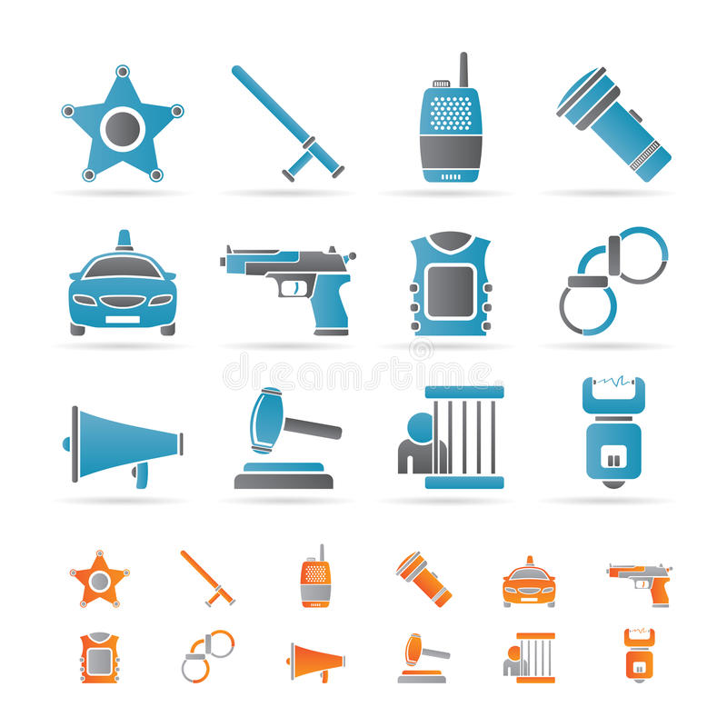 Download Law, Order, Police And Crime Icons Stock Vector - Illustration: 18032319