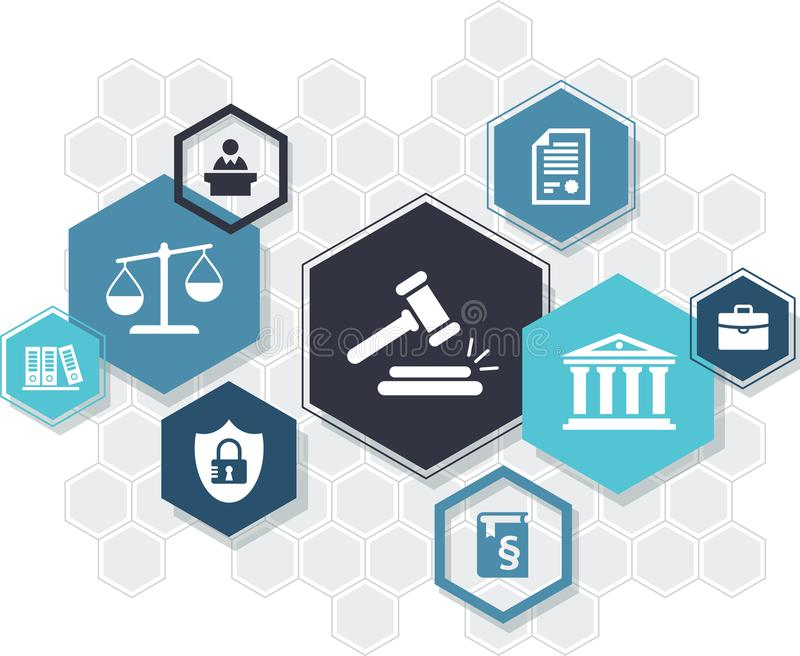 Law practice / legal representation / justice system – abstract icon concept with hexagon shapes. Vector illustration. Abstract concept with vector illustration