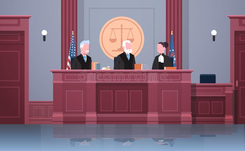 Law process with judge lawyer and procurator in uniform sitting at workplace court session modern courtroom interior. Justice and jurisprudence concept portrait stock illustration