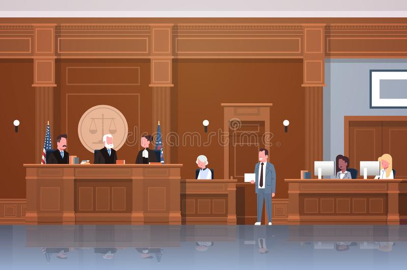 Law process with judge secretary suspect and lawyer or attorney giving a speech court session modern courtroom interior. Full length horizontal vector royalty free illustration