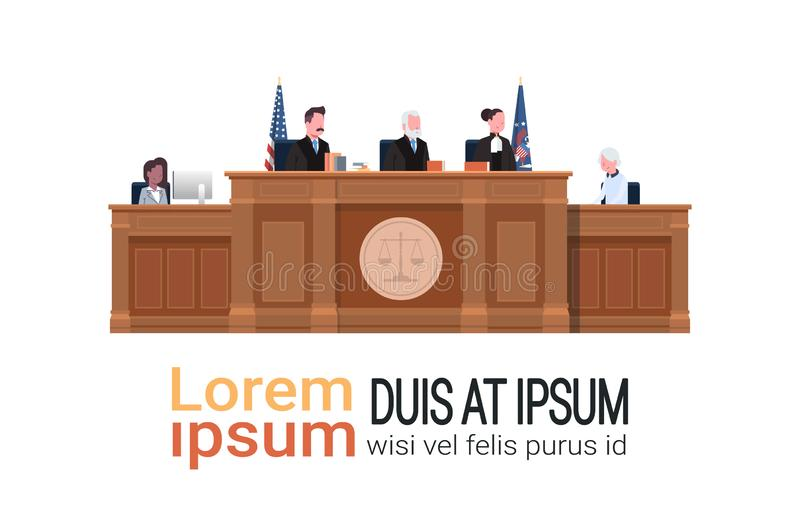 Law process with judge secretary suspect sitting at workplace wooden tribune court session white background copy space royalty free illustration