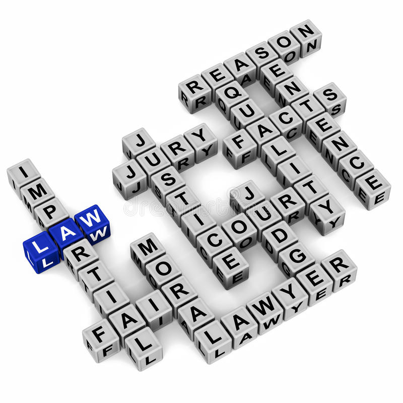Law related words. In crossword, word law in blue and others like impartial fair moral lawyer justice etc in mono royalty free illustration