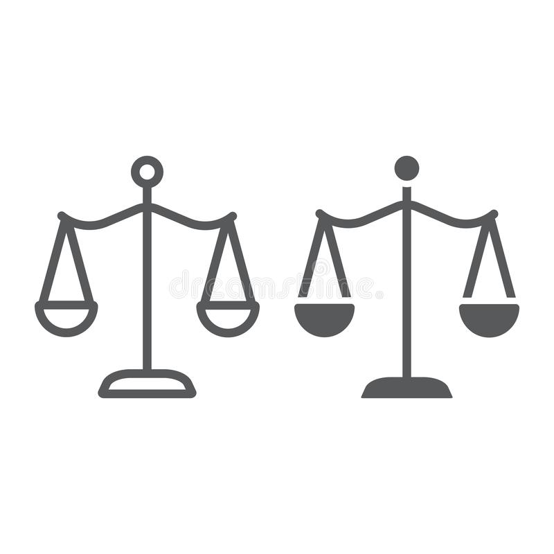 Law scales line and glyph icon, justice and law, balance sign, vector graphics, a linear pattern on a white background. vector illustration