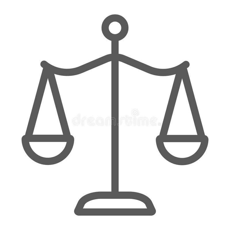 Law scales line icon, justice and law, balance sign, vector graphics, a linear pattern on a white background. royalty free illustration
