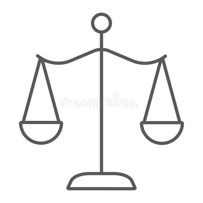Law scales thin line icon, justice and law, balance sign, vector graphics, a linear pattern on a white background. stock illustration