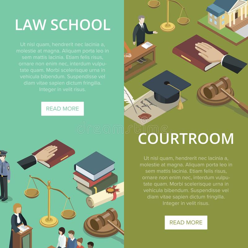 Law school isometric flyers set. Law school isometric flyers with justice symbols. Judge gavel, jury trial, oath of bible, law books, courthouse building royalty free illustration