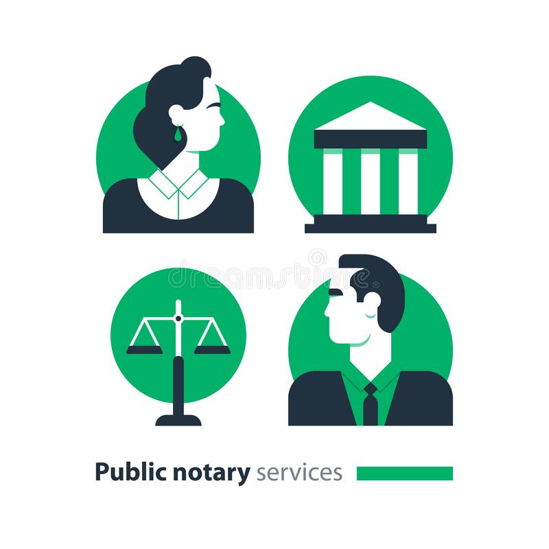 Public notary services icons set, law firm man advocacy consult document certify. Law services and public notary concept icon set. Court house trial case stock illustration