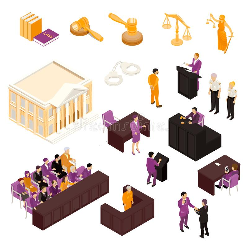 Law Set Isometric. Law isometric icons collection with justice court building gavel judge witness defendant police officers isolated vector illustration royalty free illustration