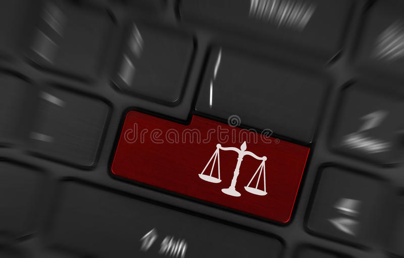Law symbol (red key) stock image