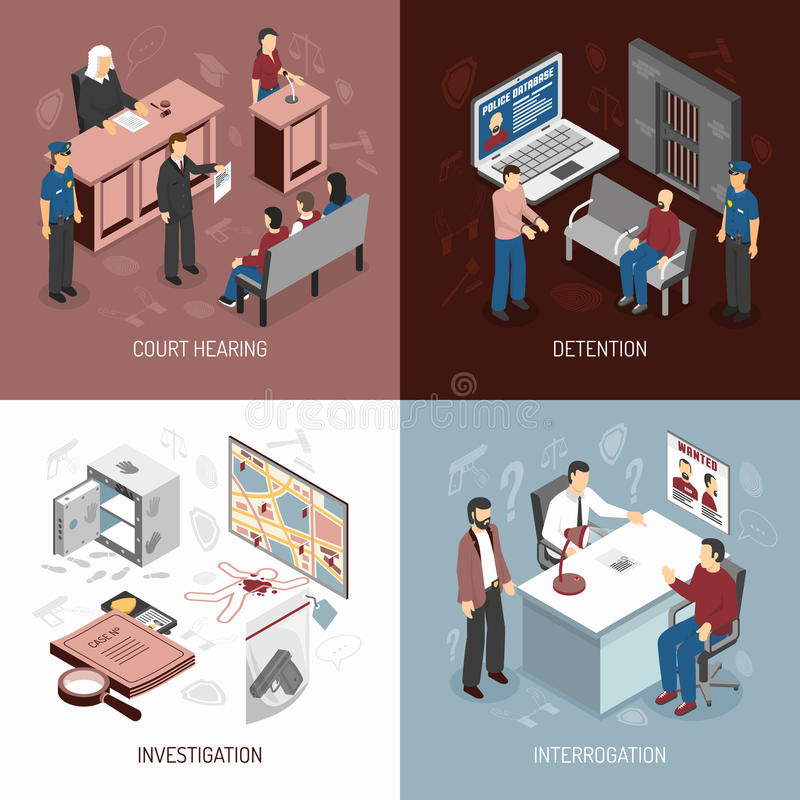 Law System Isometric Concept. With arrest of criminals court hearing investigation interrogation isolated vector illustration vector illustration