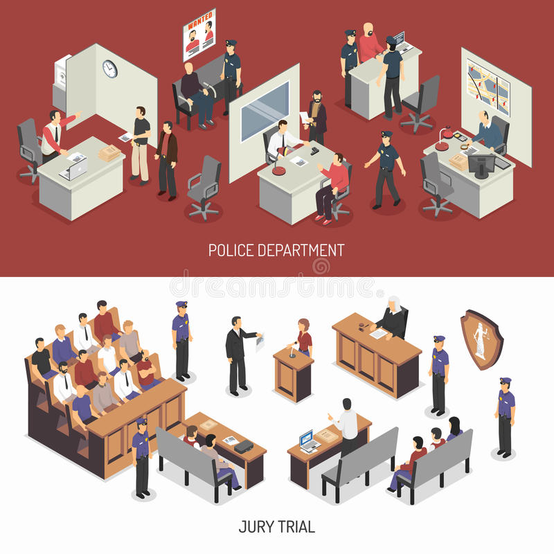 Law System Isometric Horizontal Banners stock illustration
