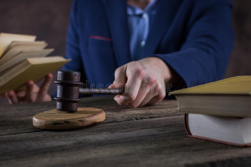 Law theme. Courtroom concept, mav with gavel royalty free stock photos