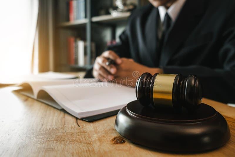 Law theme wooden desk, books, balance. Law concept. stock photos
