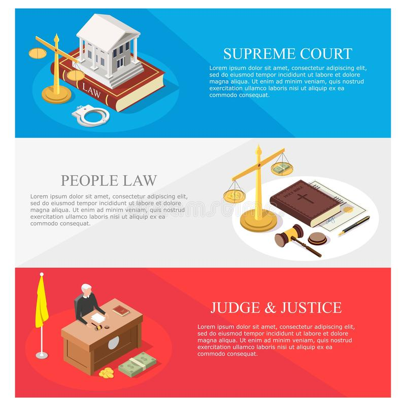 Law and justice isometric vector banner template set. Law vector concept banner template set. Supreme court, law and justice, law people web banners with vector illustration