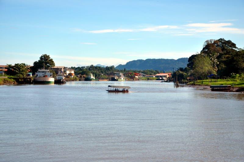 Lawasrivier, Lawas, Sarawak, Maleisië royalty-vrije stock foto's