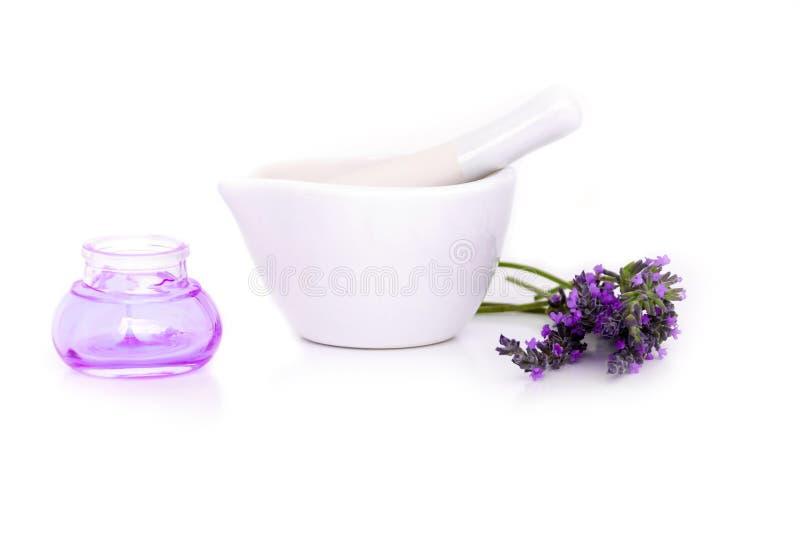Lawenda kwiaty, lavander ekstrakt i montar z suchymi kwiatami odizolowywającymi na bielu, zdjęcia royalty free