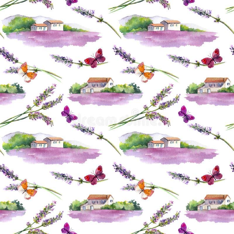 Lawenda kwitnie, motyle, lawend pola z wiejskimi provencal gospodarstwo rolne domami w Provence, Francja akwarela ilustracja wektor