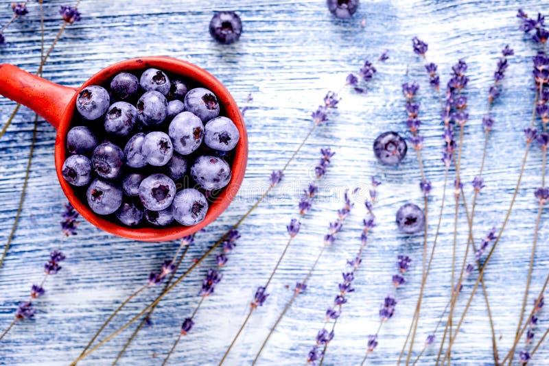 Lawendowi kwiaty z czarnej jagody filiżanki egzaminem próbnym up na błękitnym tle t fotografia royalty free