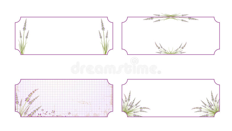 Lawendowy kwiat etykietki set ilustracja wektor