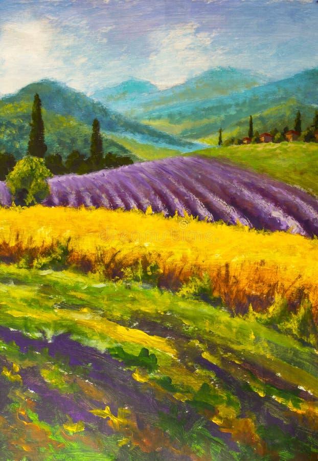Lawendowy purpury pola obraz Włoska lato wieś Francuz Tuscany Pole żółty żyto Wiejscy domy i wysoki cyprysowy tre fotografia stock