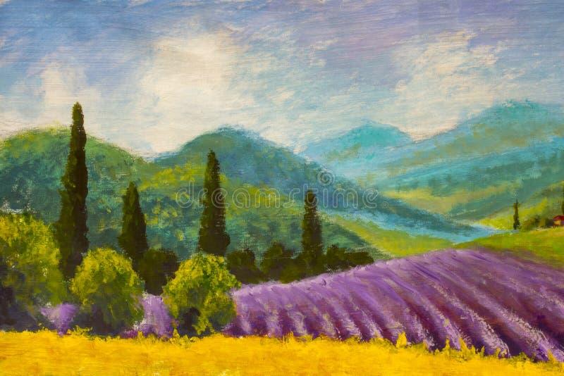 Lawendowy purpury pola obraz Włoska lato wieś Francuz Tuscany Pole żółty żyto Wiejscy domy i wysoki cyprysowy tre ilustracji