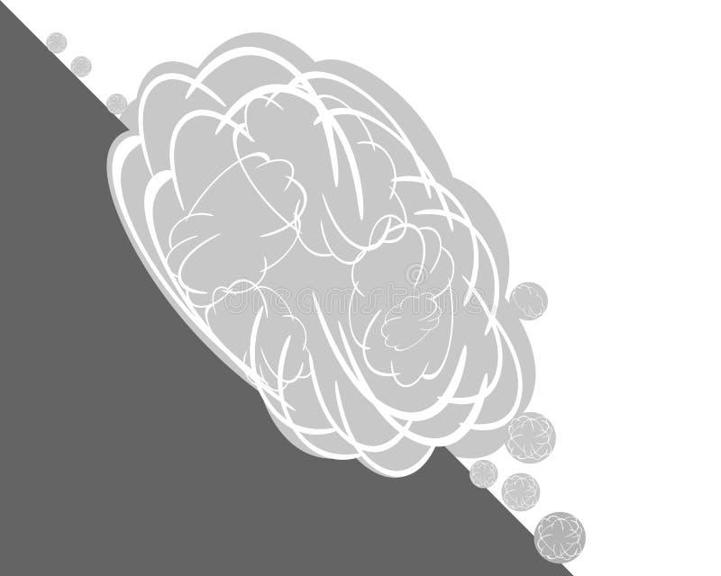 Lawina przy zbocze góry na bielu ilustracji