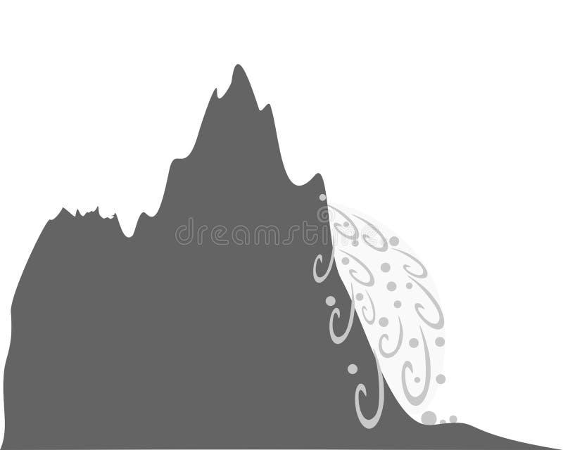 Lawina przy zbocze góry na bielu royalty ilustracja