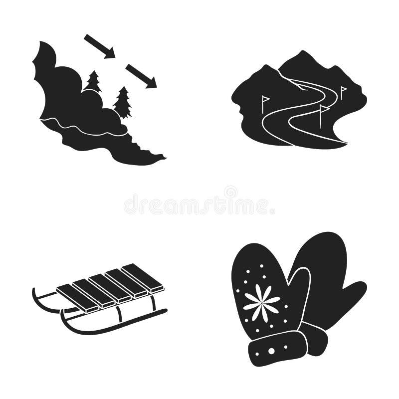 Lawina znak, narciarski skłon, sanie, mitynki Ośrodek narciarski ustalone inkasowe ikony w czerń stylu symbolu wektorowym zapasie ilustracji
