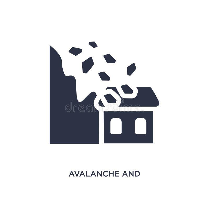Lawinen- und Hausikone auf weißem Hintergrund Einfache Elementillustration vom Meteorologiekonzept lizenzfreie abbildung