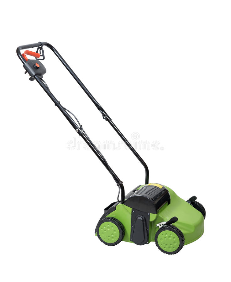 Lawn aerator. Isolated over white with clipping path stock photos