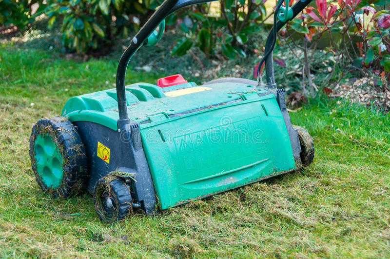 Lawn aerator. Removing moss from garden stock photo