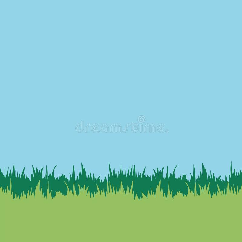 Lawn background. Grass blades and blue sky. Square vector illustration royalty free illustration