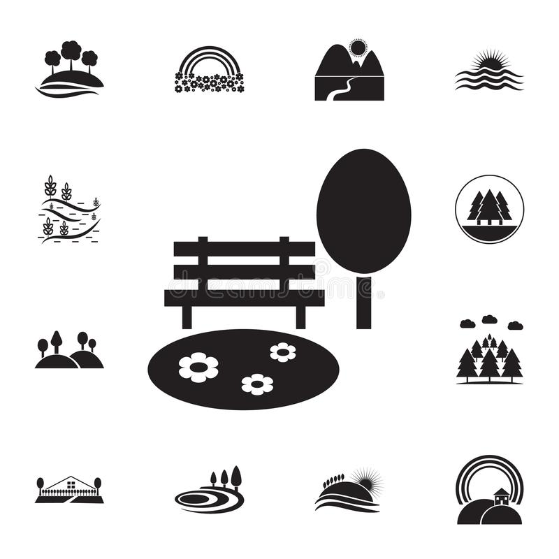 Lawn and bench icon. Detailed set of landscapes icons. Premium graphic design. One of the collection icons for websites, web. Design, mobile app on white stock illustration