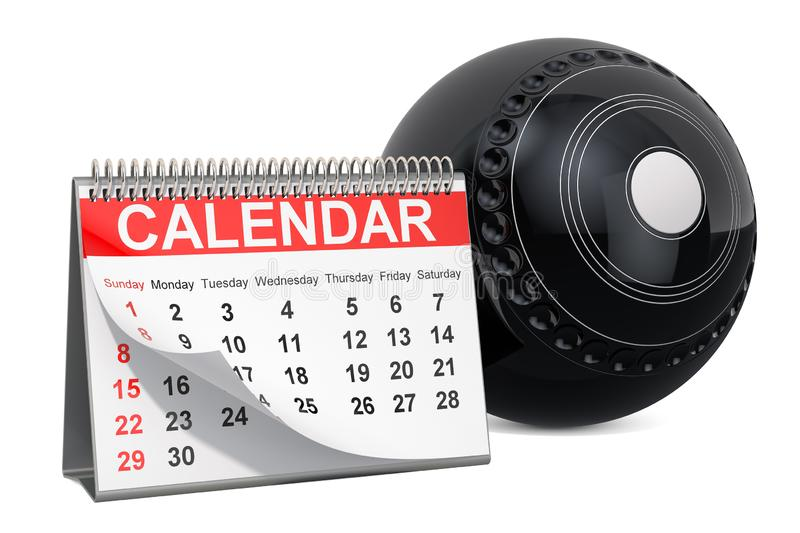 Lawn bowl ball with calendar, lawn bowl events calendar concept. 3D rendering. Isolated on white background vector illustration