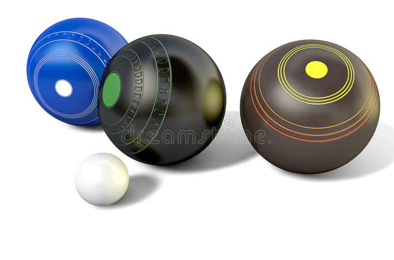 Lawn Bowls And Jack. Three different designs of lawn bowling balls surrounding a white jack on an isolated white studio background - 3D render stock illustration
