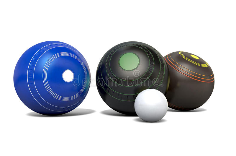 Lawn Bowls And Jack. Three different designs of lawn bowling balls surrounding a white jack on an white studio background - 3D render stock illustration