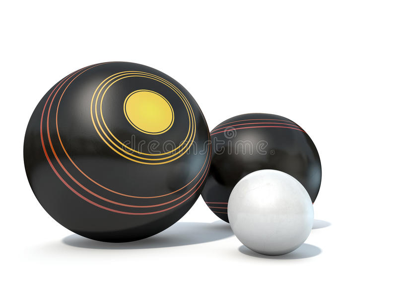 Lawn Bowls And Jack. Two wooden lawn bowling balls surrounding a white jack on an isolated white studio background royalty free illustration