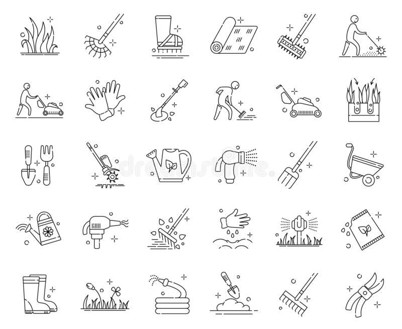 Lawn Care Vector. Lawn care and aeration - outline icon set, lawn grass service, gardening and landscape design, isolated simple sings with tools and characters vector illustration